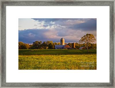New England Sunrise Painted Barns Silos Stormy  Framed Print by Sherry  Curry