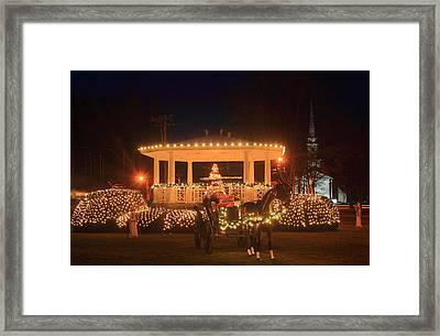 New England Town Common Holiday Scene Framed Print by John Burk