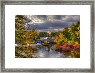 New England Town In Autumn Framed Print