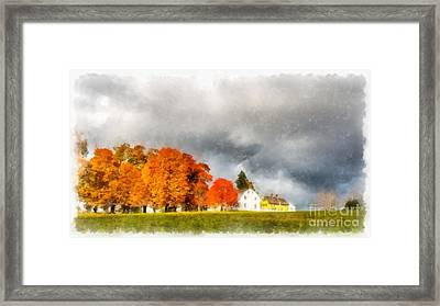 New England Village Framed Print by Edward Fielding