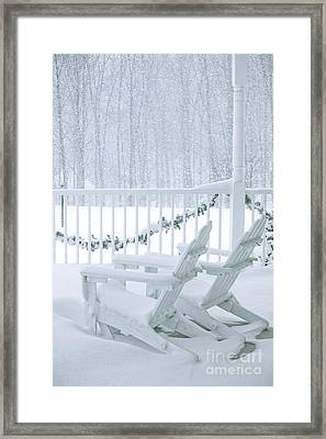 New England Winter Porch Framed Print by Diane Diederich