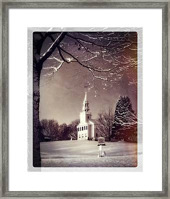 New England Winter Village Scene Framed Print