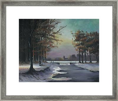 New England Winter Walk Framed Print by Cecilia Brendel