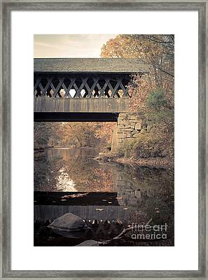 New Hampshire Covered Bridge Autumn Framed Print by Edward Fielding