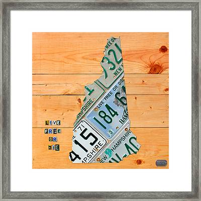 New Hampshire License Plate Map Live Free Or Die Old Man Of The Mountain Framed Print by Design Turnpike