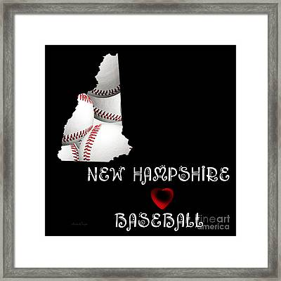 New Hampshire Loves Baseball Framed Print by Andee Design