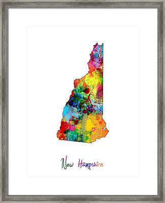 New Hampshire Map Framed Print by Michael Tompsett