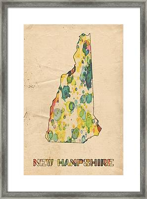 New Hampshire Map Vintage Watercolor Framed Print by Florian Rodarte