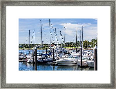 New Hampshire Marina Framed Print by Fred Larson