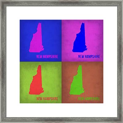 New Hampshire Pop Art Map 1 Framed Print by Naxart Studio