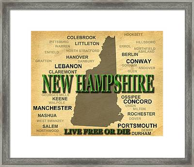 New Hampshire State Pride Map Silhouette  Framed Print by Keith Webber Jr
