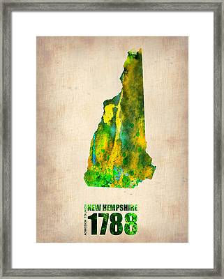 New Hampshire Watercolor Map Framed Print by Naxart Studio