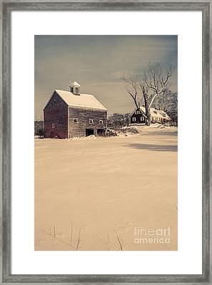 New Hampshire Winter Farm Scene Framed Print by Edward Fielding
