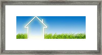 New Home Imagination On Green Meadow Framed Print by Michal Bednarek