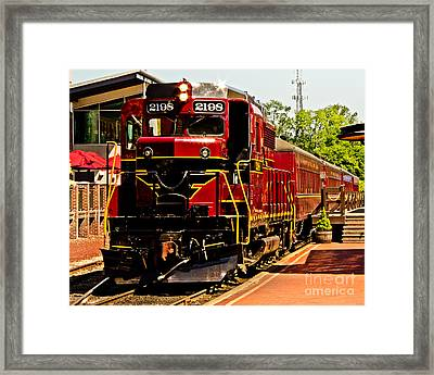 New Hope Ivyland Railroad With Cars Framed Print by Tom Gari Gallery-Three-Photography