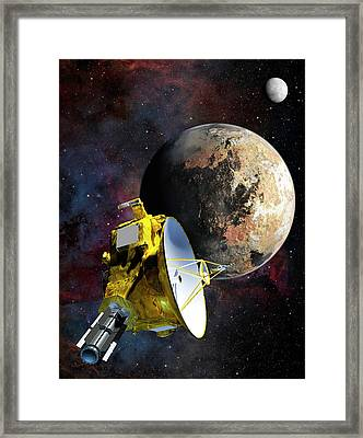 New Horizons At Pluto Framed Print by Nasa/johns Hopkins University Applied Physics Laboratory/southwest Research Institute