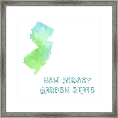 New Jersey - Garden State - Map - State Phrase - Geology Framed Print by Andee Design