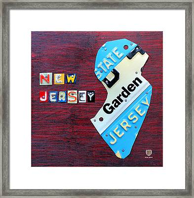 New Jersey License Plate Map Framed Print by Design Turnpike