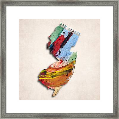New Jersey Map Art - Painted Map Of New Jersey Framed Print by World Art Prints And Designs