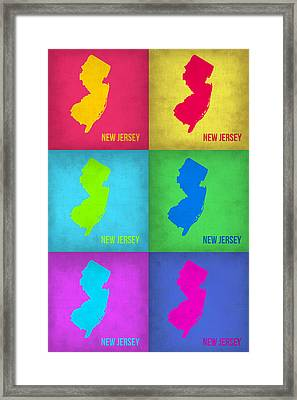 New Jersey Pop Art Map 1 Framed Print by Naxart Studio