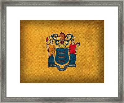 New Jersey State Flag Art On Worn Canvas Framed Print