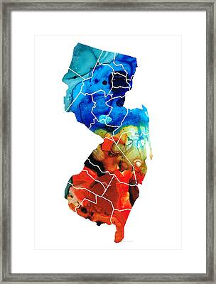 New Jersey - State Map By Sharon Cummings Framed Print by Sharon Cummings