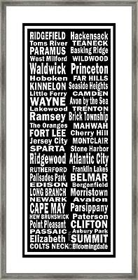New Jersey Towns Canvas Art.com Framed Print by Joans Craft World