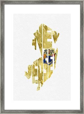 New Jersey Typographic Map Flag Framed Print by Ayse Deniz