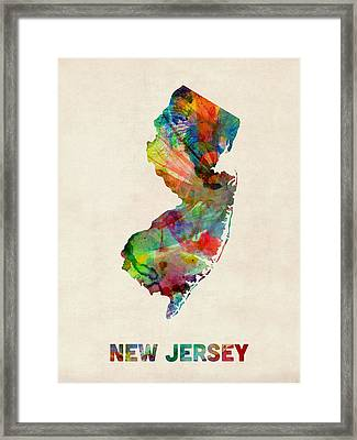 New Jersey Watercolor Map Framed Print by Michael Tompsett