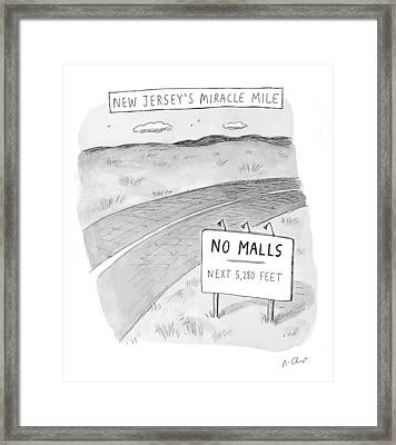 New Jersey's Miracle Mile Framed Print by Roz Chast