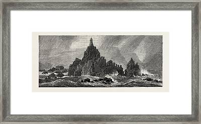 New Lighthouse, Corbiere Rocks Framed Print by English School