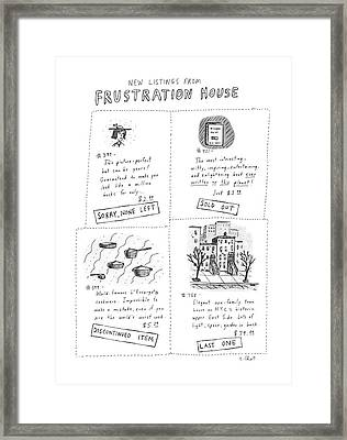 New Listings From Frustration House Framed Print by Roz Chast