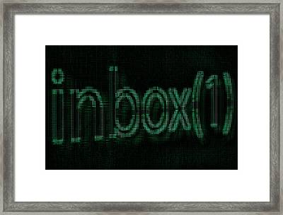 New Mail Notification On Cyber Circuit Screen Framed Print by Nikita Buida
