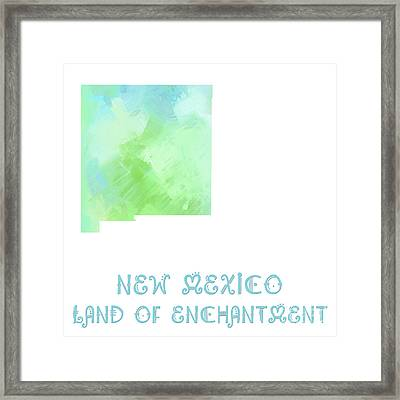 New Mexico - Land Of Enchantment - Map - State Phrase - Geology Framed Print by Andee Design