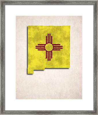 New Mexico Map Art With Flag Design Framed Print