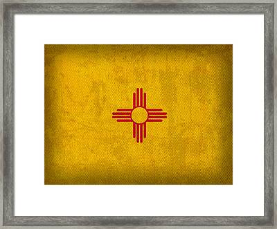 New Mexico State Flag Art On Worn Canvas Framed Print by Design Turnpike