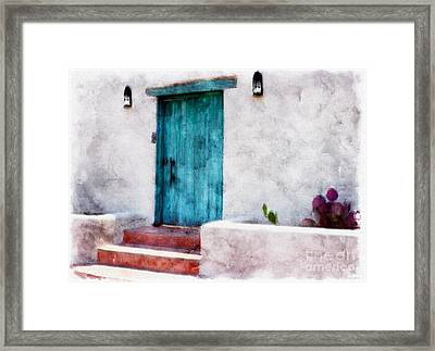 New Mexico Turquoise Door And Cactus  Framed Print