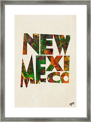 New Mexico Typographic Watercolor Map Framed Print by Ayse Deniz