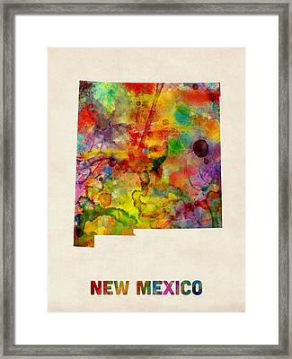 New Mexico Watercolor Map Framed Print by Michael Tompsett