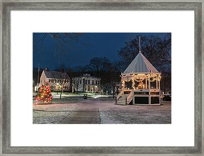 New Milford Green - Christmas Morning Framed Print by Thomas Schoeller