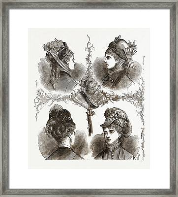 New Models Of Bonnets19th Century Fashion Framed Print