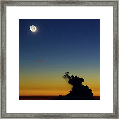 New Moon And Earthshine At Sunset Framed Print by Babak Tafreshi