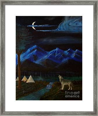 New Moon Howling Framed Print by Stephen Schaps