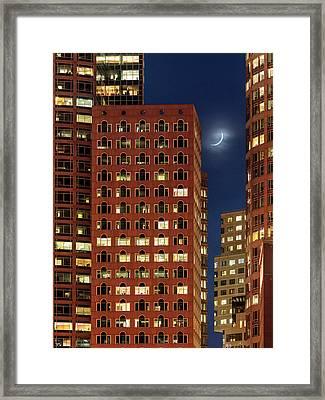 New Moon Over Boston Framed Print