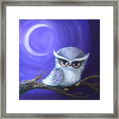 Framed Print featuring the painting New Moon Owl by Agata Lindquist