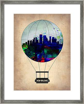New Orleans Air Balloon Framed Print by Naxart Studio