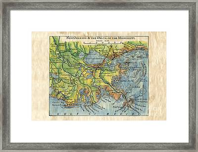 New Orleans And The Delta Of The Mississippi River 1906 Framed Print