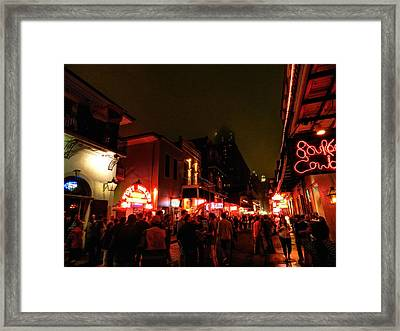 New Orleans - Bourbon Street 001 Framed Print by Lance Vaughn