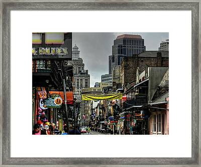 New Orleans - Bourbon Street 008 Framed Print by Lance Vaughn