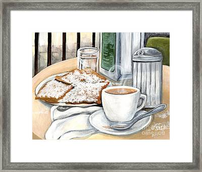 New Orleans Cafe Du Monde Framed Print by Elaine Hodges